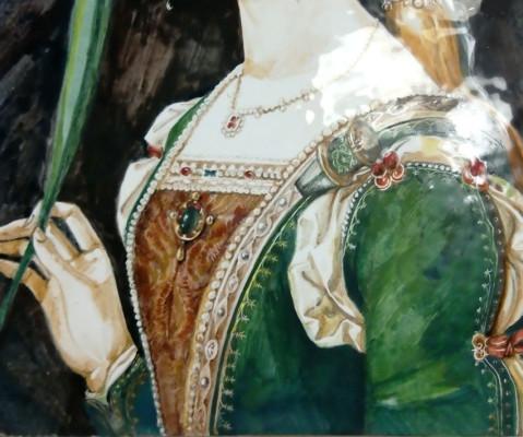 Керамическое панно ручной работы Святая Иустина