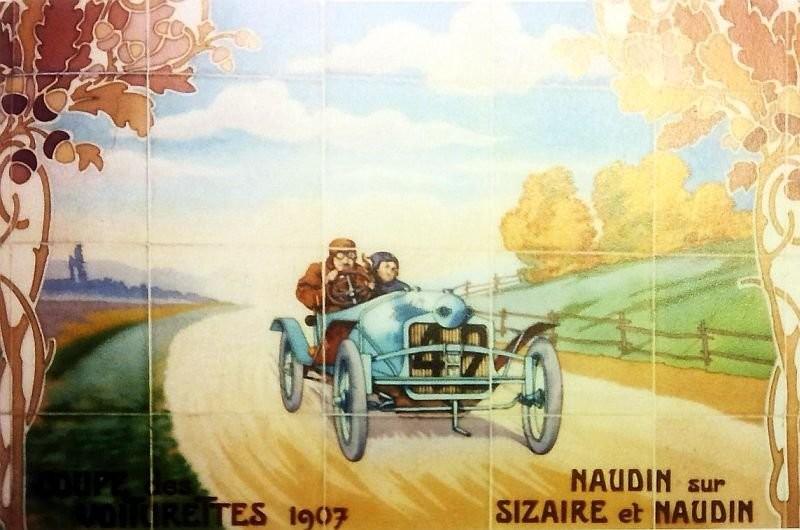 Панно на злдании компании Michelin в Западном Лондоне в стиле арт-нуво с изображением первых автомобилей, мотоциклов и других авто-механизмов. 1911 год.