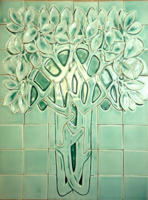 Скульптурное керамическое панно Снежное дерево