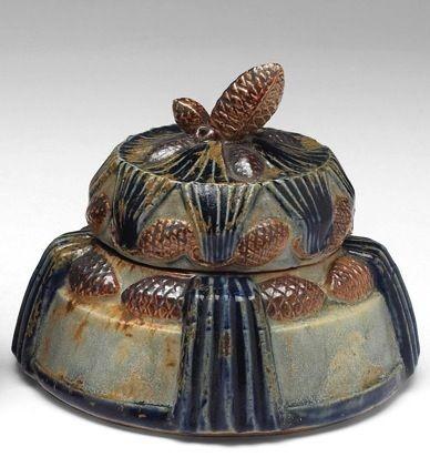 Керамическая сахарница с эффектом металлизации глазури Пьера Гребера. Арт-деко.