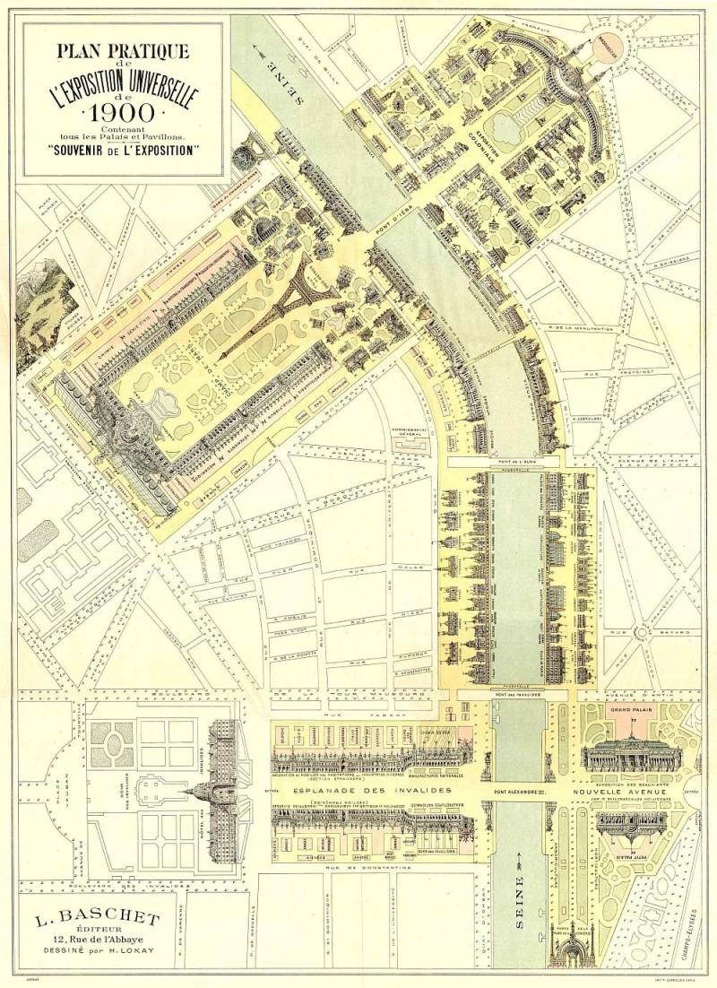 Карта Всемирной выставки в Париже, 1900 год.