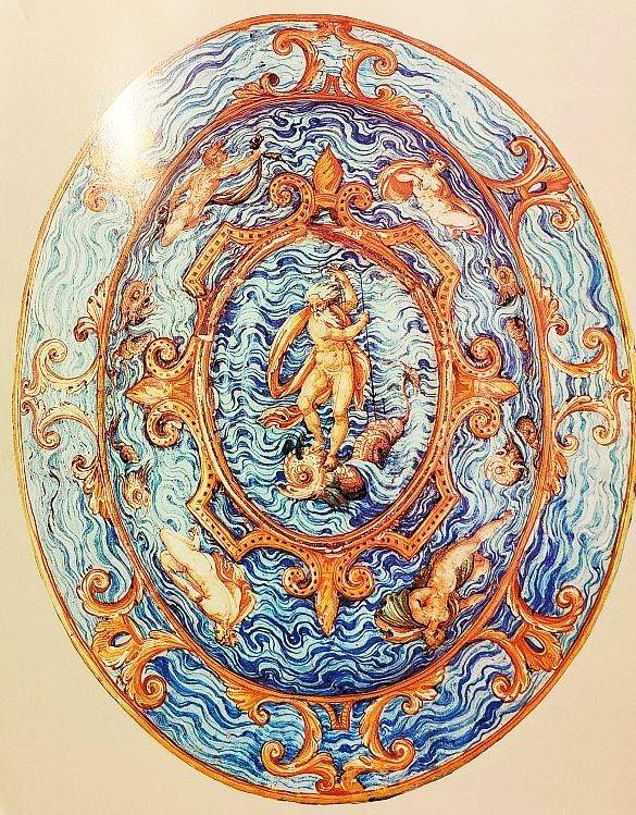 Блюдо с минервами и гротесками. Урбино, мастерская Фонтана. 1565-1570 годы