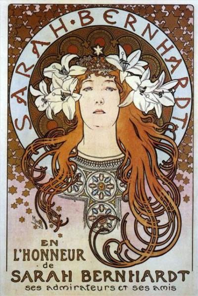 Плакат с портретом великой актрисы Сары Бернар. Альфонс Муха. 1896 год.