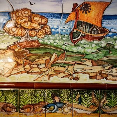 Купить керамическое панно на стену Остров Буян