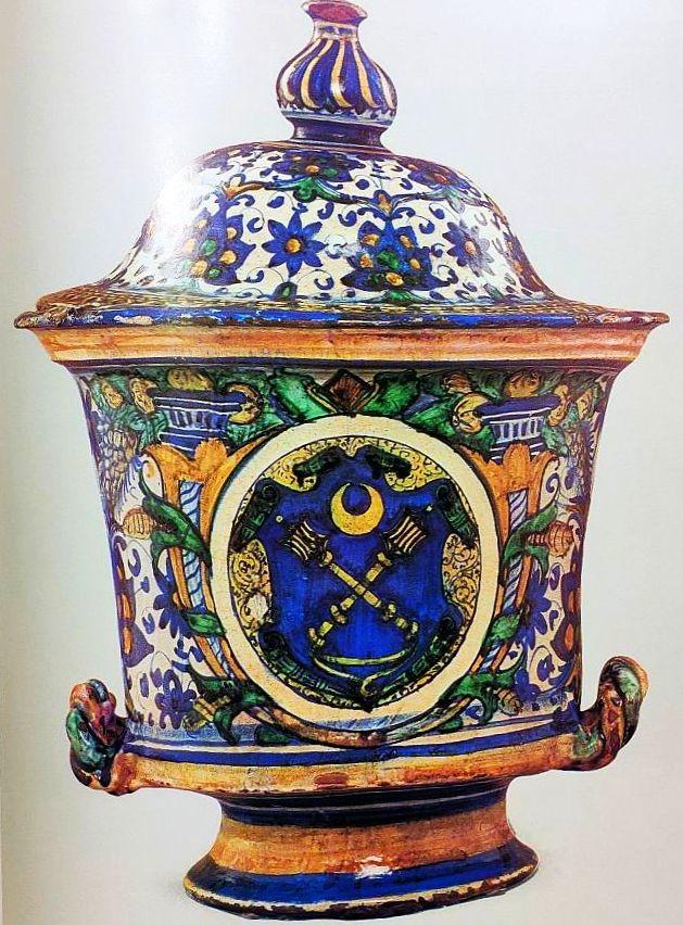 Ваза с крышкой. Каффаджоло или Фаэнца. 1500-1510 годы