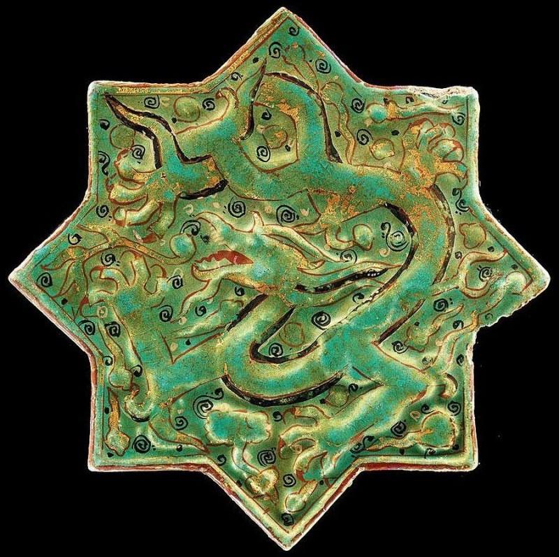 Восьмиугольная звездочка-изразец в технике minai