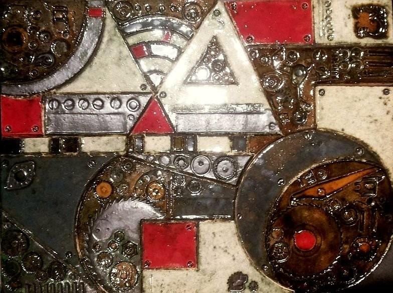 Керамическое панно в стиле стимпанк Власть механизмов с эффектом металлизированных поверхностей