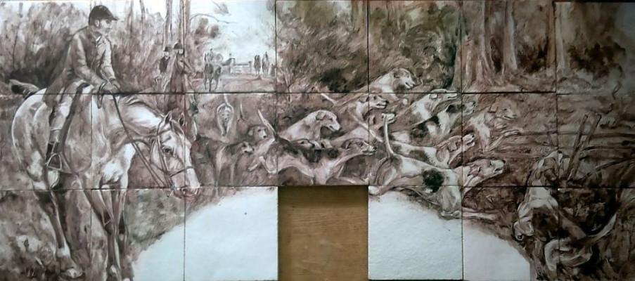 Охотничий керамический камин в английском стиле с панорамным живописным панно на тему охоты по мотивам картины Томаса Блинкса
