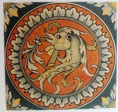 Итальянская майоликовая плитка с гротеском