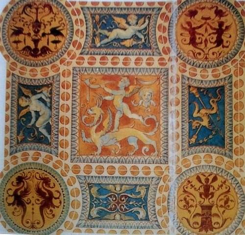 Плитки пола во дворце Магнифико в Сиене с гротесками. 1504-1509 год