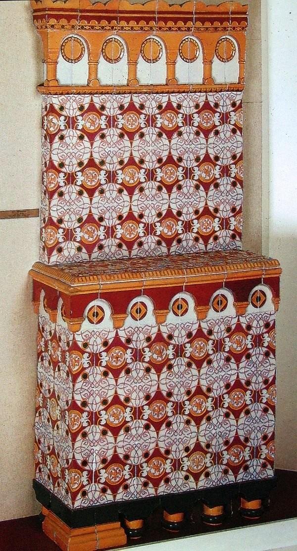 Изразцовая печь из музея Дом бояр Романовых по эскизу Ф.Ф. Рихтера. 1858 год