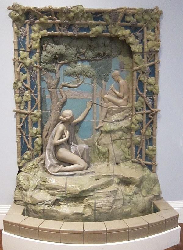 Керамический фонтан работы Rookwood Pottery. Музей искусств Цинциннати