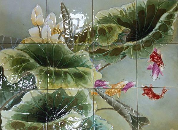 Живописное фасадное панно работы мастерской Крея-Керамика на керамограните