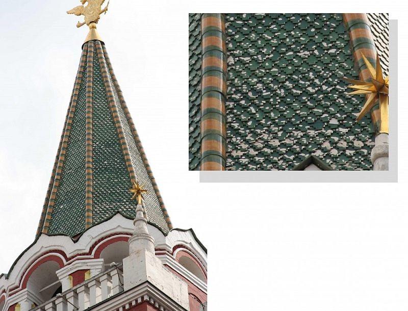 Шатер Воскресенских ворот, облицованных черепицей из крупнопористой глины c обсыпающейся глазурью