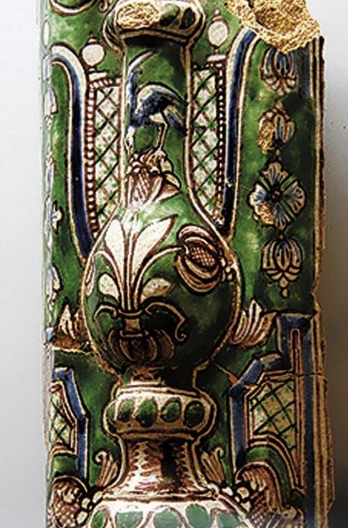 Изразцы с изумрудной и кобальтовой глазурью из Палат Макаровых в Калуге. XVIII век