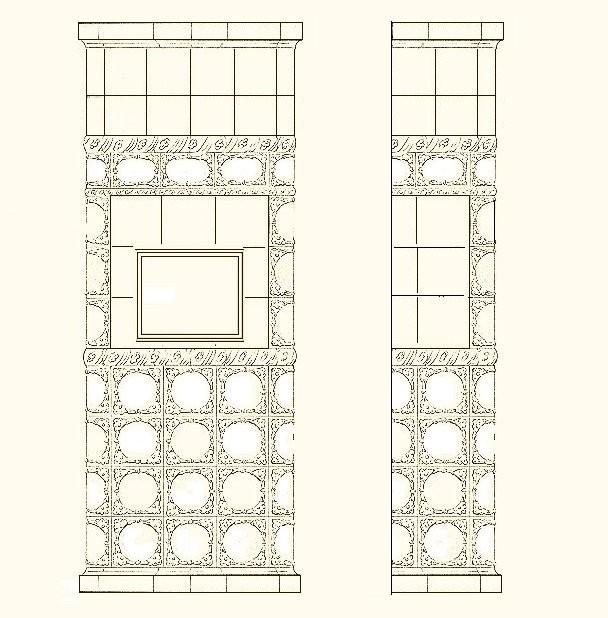 Проект небольшой банной печи, облицованной рельефными изразцами серии «Печенье» в белой эмали