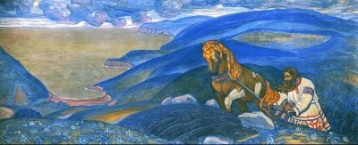 Микула Селянинович из серии «Богатырский фриз», Н.К. Рерих, 1910