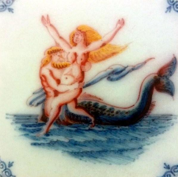 Изразец с Нептуном и Фортуной. 1625 год